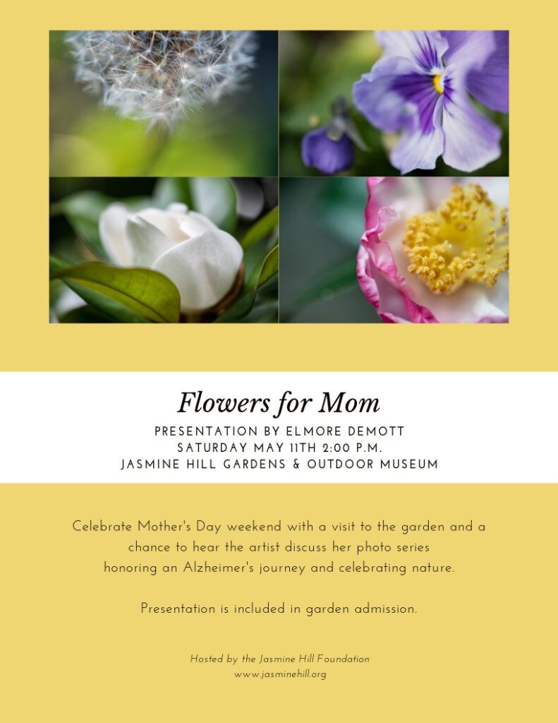 Elmore DeMott will be speaking at Jasmine Hill Gardens on May 11